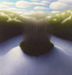 """Untitled (little hill with trees), oil on wood, 12"""" x 12"""", 2005."""