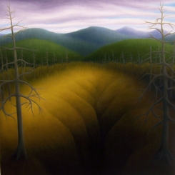 "Untitled (Mtn Pit), oil on wood, 12"" x 12"", 2010."