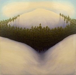 "Untitled (Nipple Mtn), oil on wood, 12"" x 12"", 2002."