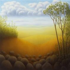 "Untitled (Italian Hills), oil on wood, 12"" x 12"", 2005."
