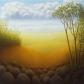 "Untitled (Italian Hills), oil on wood, 12"" x 12"""