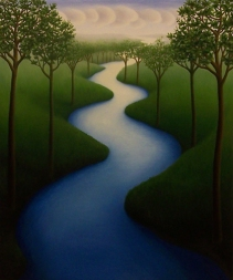 """River 2008, oil on wood, 12"""" x 10"""", 2008."""