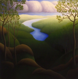 """Untitled (river end), oil on wood, 12"""" x 12"""", 2008."""