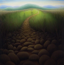 """Untitled (rocks),oil on wood, 12"""" x 12"""""""