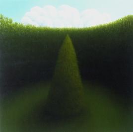 """Untitled (single tree), oil on wood, 12"""" x 12"""", 2005"""