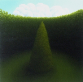 "Untitled (single tree), oil on wood, 12"" x 12"", 2005"