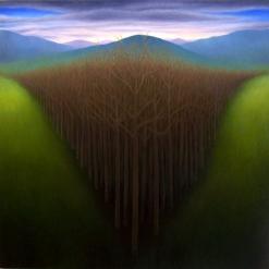 """Untitled (V trees), oil on wood, 12"""" x 12"""", 2011."""