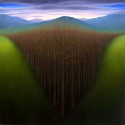"""Untitled (V trees), oil on wood, 12"""" x 12"""""""