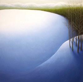 "Winter Hill II, oil on wood, 12"" x 12"", 2004."