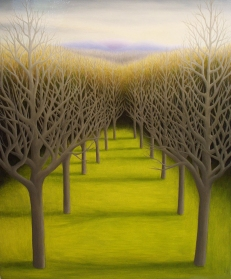 "Yaddo Trees II, oil on wood, 14"" x 12"", 2007."