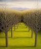 "Yaddo Trees II, oil on wood, 14"" x 12""."