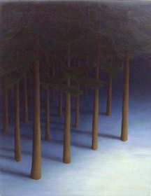 "Yaddo Trees I, oil on wood, 14"" x 12"""