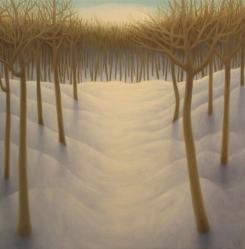 "Winter 2, oil on wood, 12"" x 12"", 2019."