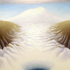 Erebus and Dive Hole, oil on wood, 12x10 inches, 2012.